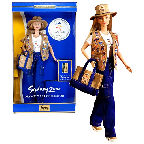 Mattel Year 1999 Barbie Collector Edition Series 12 Inch Doll - SYDNEY 2000 BARBIE with Official Sydney 2000 Olympic Pin, Vest, T-Shirt, Pants, Hat, Tote Bag, Shoes, Earrings, Doll Stand and Certificate of Authenticity (Sydney Pins Olympic)