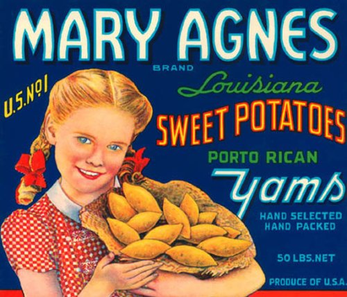 WONDERFULITEMS MARY AGNES LOUISIANA SWEET POTATOES YAMS USA GIRL CRATE LABEL 12