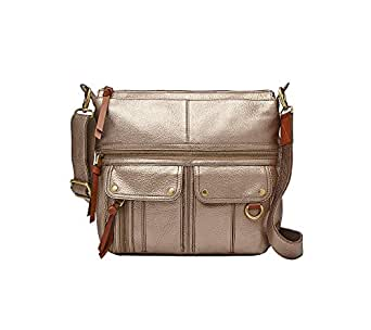 Fossil Morgan North/South Top Zip Crossbody Bag Pewter