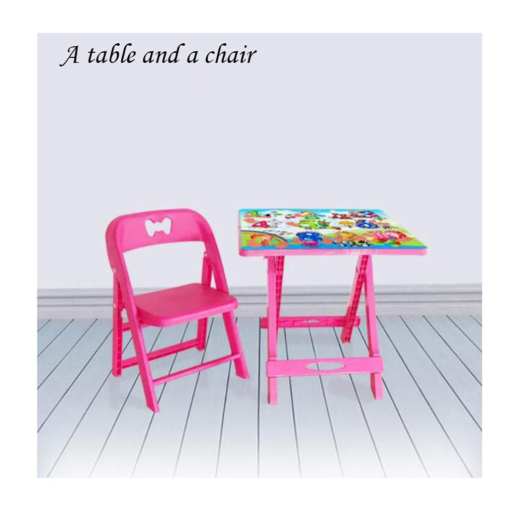 Juego De Mesa Plegable Y Silla Apilable para El Jardín De La Casa De Plástico para Niños (Una Mesa Rosa Y Una Silla)