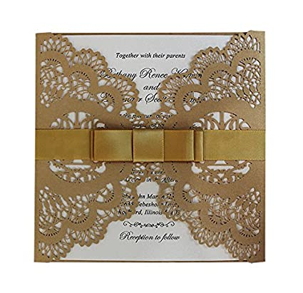 amazon com 50pcs gold and white wedding invitation ribbon bow lace