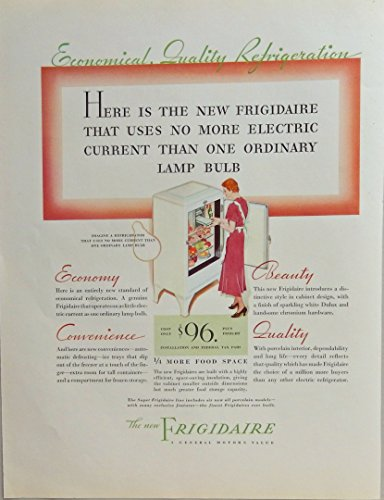 - the new Frigidaire $96, scarce 30's print ad. full color illustration (General Motors ) 1933 Fortune Magazine Art