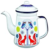 Folklore Enamel White Coffee Pot, Day Design (33 Ounces)