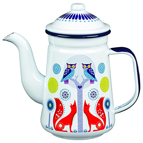 Wild and Wolf AFOL038 Folklore Enamel Coffee Pot, Day Design, White (33 - Market The Woodlands Street