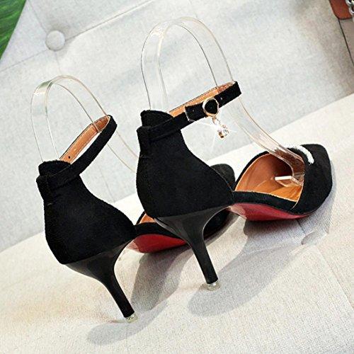 Tacco Alto Da Donna Tacco Nudo Punta A Punta Imitazione Diamante Cinturino Alla Caviglia Tacchi Alti Scarpe Nere