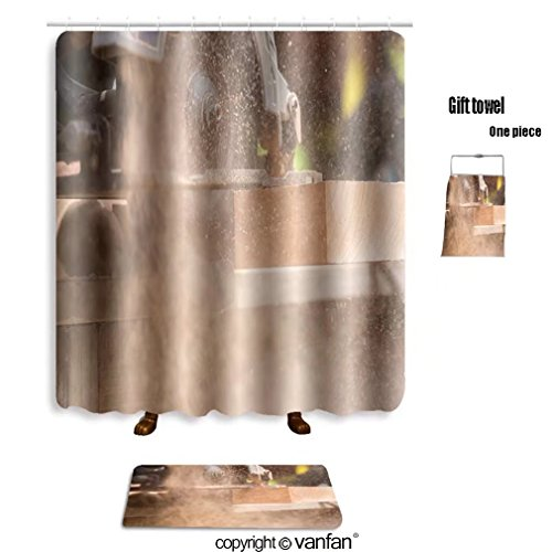 vanfan bath sets with Polyester rugs and shower curtain close up electric saw to sawing wood board so shower curtains sets bathroom 36 x 72 inches&23.6 x 15.7 inches(Free 1 - Saw Grass Ford