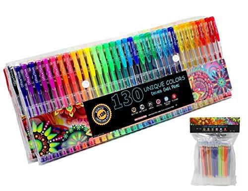 260 Gel Pens Set - Ergonomic Grips - Color Codes and Chart - 60% More Ink - ZERO Duplicates - Non Toxic - Acid Free - BONUS 12 Adult Coloring Pages (130 Gel Pens + 130 Refills)