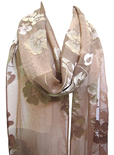 "Ombré ""Bijoux"" Floral Silk Burnout Fringed Scarf Stole Wrap Mocha Brown"