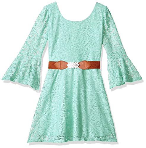 Amy Byer Girls' Big Belted Allover Lace Bellsleeve Dress, Mint Cream, 8 (Lace Belted Belt)