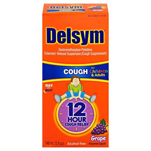 Delsym Children's Cough Suppressant Liquid, Grape Flavor, 5 Ounce (Pack of 8)