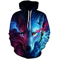 Hot Sale! Men Hoodies,Canserin Unisex Couples Lovers 3D Sky Wolf Printed Drawstring Loose Pockets Hoodie Sweatshirts Hooded Coat