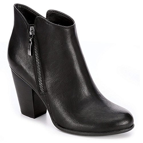 Black Leather Wedge Heel (Michael By Michael Shannon Womens Jenny Ankle Bootie Shoes, Black, US 10)