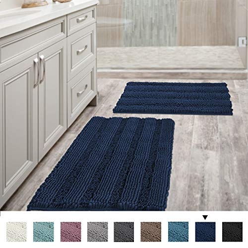 "Navy Blue Bathroom Rugs Slip-Resistant Extra Absorbent Soft and Fluffy Striped Bath Mat Set Chenille Bath Rugs, Floor Mats Dry Fast Machine Washable (Set of 2-20"" x 32""/17"" x 24"") from H.VERSAILTEX"