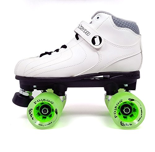 Jackson Vibe Quad Roller Skate w/ Green 62x44 Poison Wheels and FREE Devaskation Drawstring Bag - White Size 4 by Atom 2