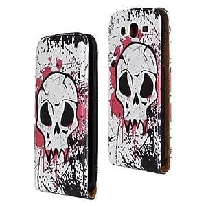 GJY White Skull Pattern PU Leather Full Body Case for Samsung Galaxy Mega 5.8 I9150