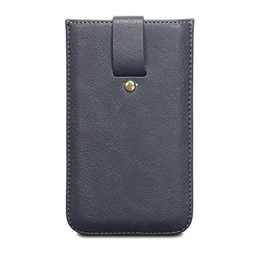 Terrapin iPhone 6S Ätzen Leder Sleeve Tasche mit Kartenslot für iPhone 6 / 6S Hülle Grau (Lasche mit Rückzugfunktion)