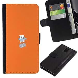 All Phone Most Case / Oferta Especial Cáscara Funda de cuero Monedero Cubierta de proteccion Caso / Wallet Case for Samsung Galaxy Note 3 III // Sad Paper Shredding
