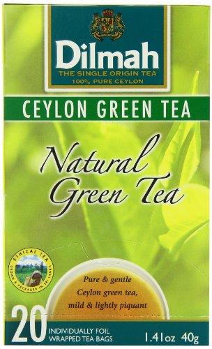 Dilmah Tea, Ceylon Green Tea, 20-Count Foil Wrapped Tea Bags (Pack of 6)