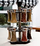 EatNeat Smooth Rotating Spice Rack with 12 Refillable Glass Jars and Multi-Option Chrome Shaker Lids