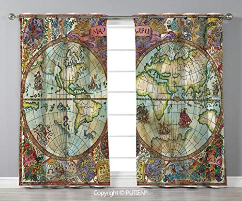 Grommet Blackout Window Curtains Drapes [ Watercolor,Vintage World Map Antique Grunge Drawings Mystic Symbols Adventure Discovery Decorative,Multicolor ] for Living Room Bedroom Dorm Room Classroom Ki]()