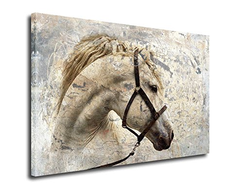 ARTEWOODS Wall Art Canvas Sepia Horse Head Abstract Painting Canvas Prints Framed Art Reproduction Contemporary Vintage Painting Ready to Hang for Home and Office Decoration