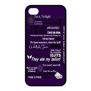Funny SPN Supernatural Quotes Protective Rubber Cover Case for iPhone 4,iPhone 4s Cases