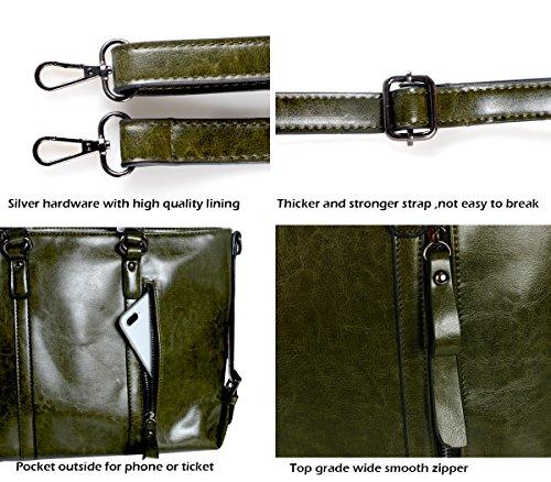IYGO Leather Tote Bag for Women, Leather Top-Handle Shoulder HandBag Tote Bag Waterproof Crossbody Bag by IYGO (Image #3)