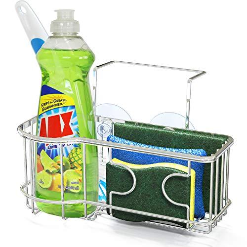 SimpleHouseware Kitchen Sink Caddy Organizer for Brush Sponge Holder, Chrome ()