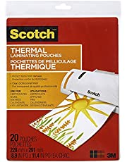 """Scotch Thermal Laminating Sheets, 9"""" x 11.5"""", 3-Mil Thick, 20 Laminating Pouches"""