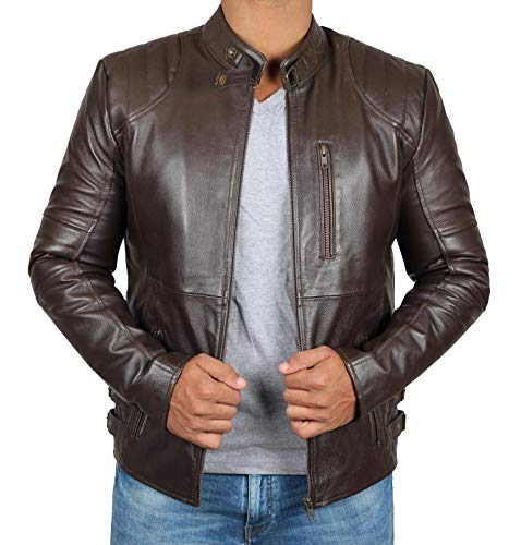 Brown Michigan Leather - BlingSoul Brown Quilted Leather Jacket for Mens | Michigan, 2XL