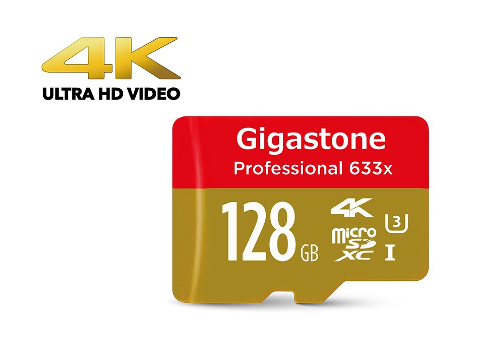 [4K Ultra HD] Gigastone Pro 128GB Micro SD Card U3 up to 95MB/s Memory + SD Card Adapter, Drone, Action camera, Dashcam