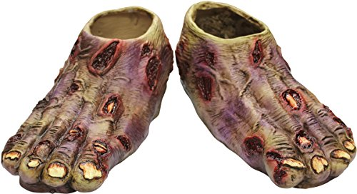 Ghoulish Productions Undead Zombie Feet Shoe Covers, Red / Beige, -