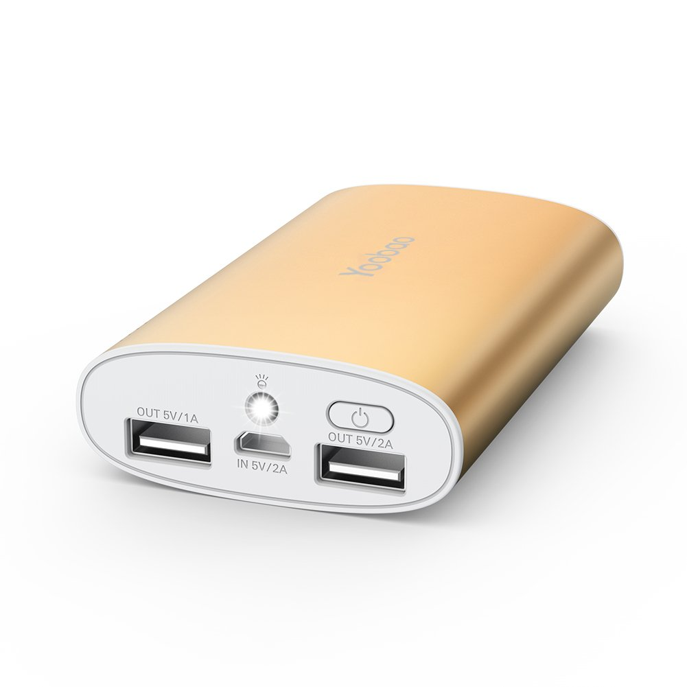 Portable Charger, Yoobao Portable Power Bank 10200mAh External Charger Powerbank Cell Phone Battery Backup Power Pack Dual USB Compatible iPhone X/8/Plus, iPad, Samsung Galaxy Smartphone - Gold