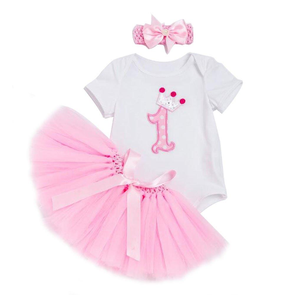 1f7184feb3a Amazon.com  3PCs Baby Girls  1st Birthday Cute Pink Tutu Dress White Romper  Sweet Headband Set  Clothing