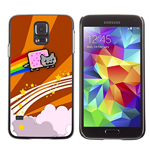 amsung Galaxy S5 cat flying rainbow computer game music art / Slim Black Plastic Case Cover Shell Armor