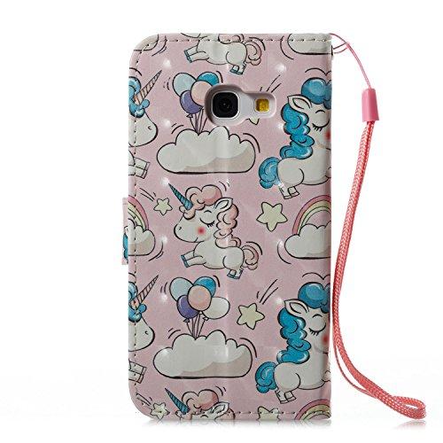 Lotuslnn Samsung A3 2017 caja del teléfono, caja de cuero de la PU cubierta de cierre magnético cubierta con Kickstand y ranuras para tarjetas de bolsillo en efectivo para Samsung A3 2017 - Flamingo p Horse pink
