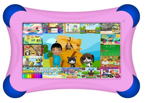 Visual Land Prestige PRO 7D FamTab - 7'' Dual Core 8GB Family Tablet with Google Play and Safety Bumper (Pink) by Visual Land