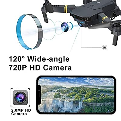 Quadcopter Drone With Camera Live Video, EACHINE E58 WiFi FPV Quadcopter with 120° FOV 720P HD Camera Foldable Drone RTF - Altitude Hold, One Key Take Off/Landing, 3D Flip, APP Control?3Pcs Batteries?