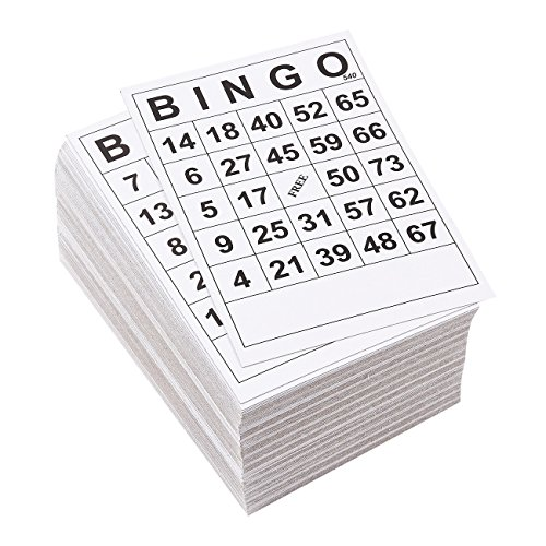 Juvale Bingo Cards - 180-Pack Disposable Bingo Game Cards, Paper Game Cards for Family Nights, Charity Events, Parties, Black and White, 6.1 x 4.1 Inches