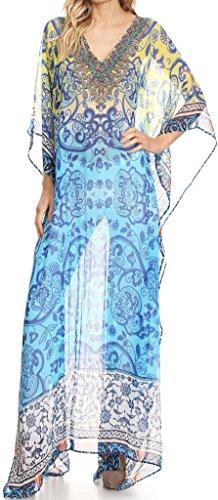 Sakkas P4 - LongKaftan Wilder Printed Design Long Semi Sheer Caftan Dress/Cover Up - 1713-Turquoise/Yellow - OS