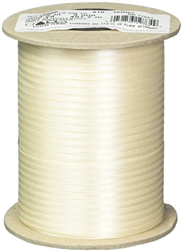 "Berwick Offray 1/8"" Wide Double Face Satin Ribbon, Ivory, 500 Yds"