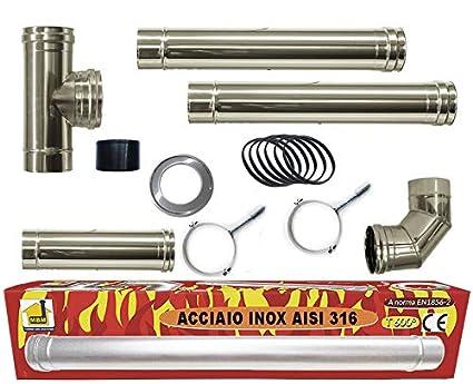 estufa de pellets tubo Kit tubos de 80 mm de acero INOX 316 ...