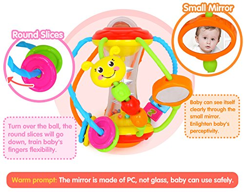 Coolecool Healthy Ball Baby Toys 3 6 Months Baby Rattle Educational Learning Activity Sensory Toys for Infants Babies (Multicolored) by Coolecool (Image #5)