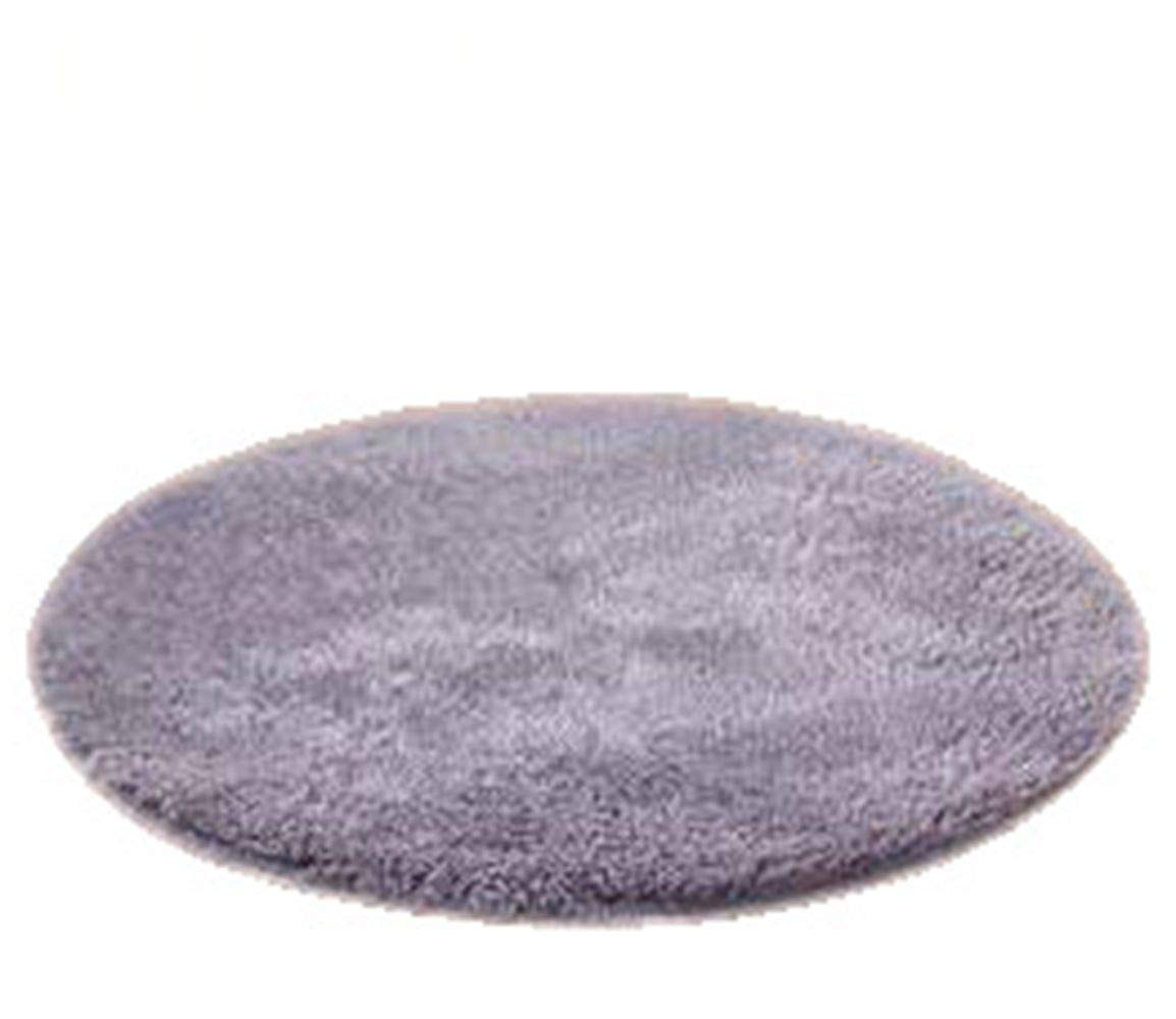 Faux Fur Round Area Rug Grey 4-Feet Carpet Kids Play Mat Floor Decor Living Room Bedroom No Shedding Hypoallergenic Non-Slip Durable
