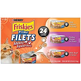 Purina Friskies Gravy Wet Cat Food 24 Count Variety Packs, Prime Filets – (24) 5.5 oz. Cans