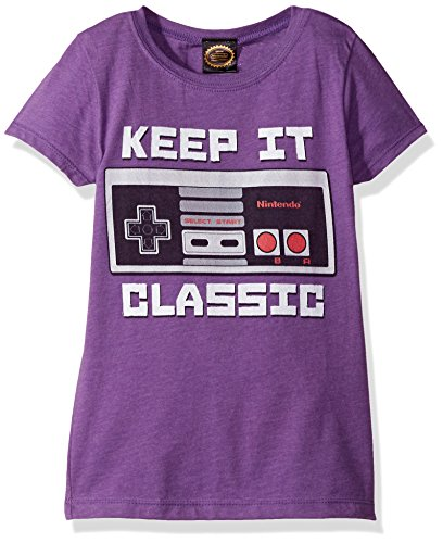 Price comparison product image Nintendo Big Girls Kepp It Classic Controller Graphic Tee, Purple Berry, XL