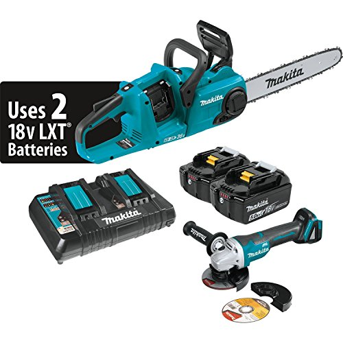 Makita XCU03PTX1 18V X2 (36V) LXT Lithium-Ion Brushless Cordless 14'' Chain Saw Kit (5.0Ah) and Brushless Angle Grinder by Makita