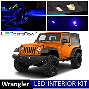 Ledpartsnow Jeep Wrangler 2007 2013 Blue Premium Led Interior Lights Package Kit 5 Pieces Led