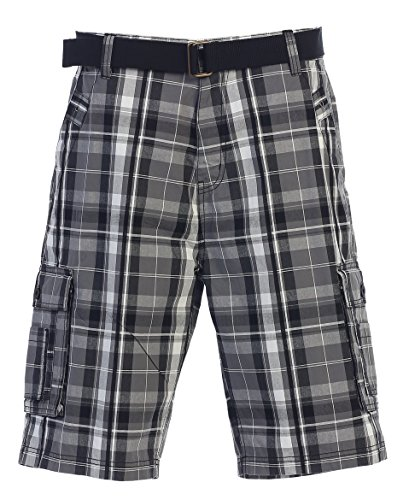Gioberti Men's Plaid Belted Cargo Shorts, Gray/Charcoal, Size 34 by Gioberti