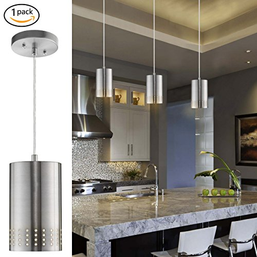 Nickel Light Kitchen Island (LANROS Adjustable Mini Pendant Light, Modern Hanging Lights with Perforated Cylindrical Metal Shade for Kitchen Island, Living Room, Brushed Nickel Finish, 1-Pack)